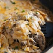 One Pan Sour Cream Chicken Enchilada Skillet