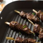 Cumin Marinated Steak Kabobs with Roasted Red Pepper Pesto