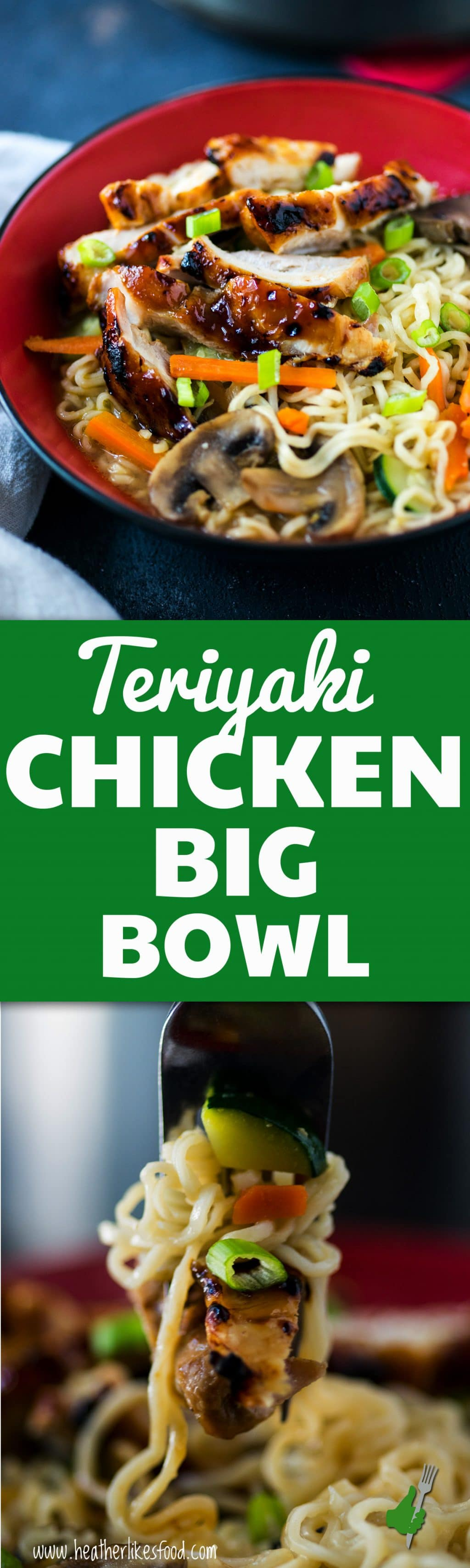 There's so much yum happening in this teriyaki chicken big bowl. Sticky, sweet chicken, hot broth, veggies and tender slurp-able noodles. So good and easy!