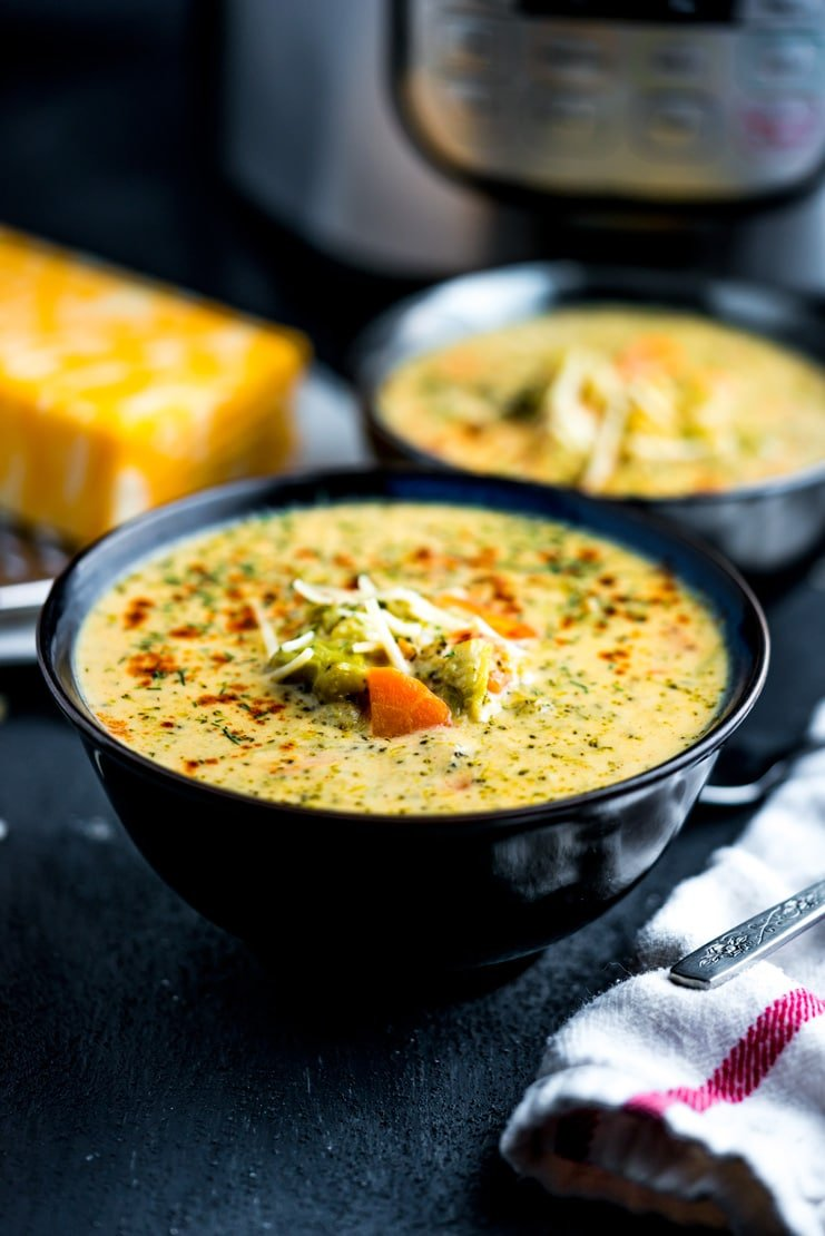 If you're craving a rich and creamy soup that is a snap to put together and takes under 20 minutes to make, this Instant Pot Broccoli and Four Cheese Soup is for you!