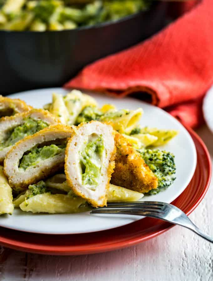 Cheesy Broccoli Pasta with Barber Foods Crispy Stuffed Chicken Breasts