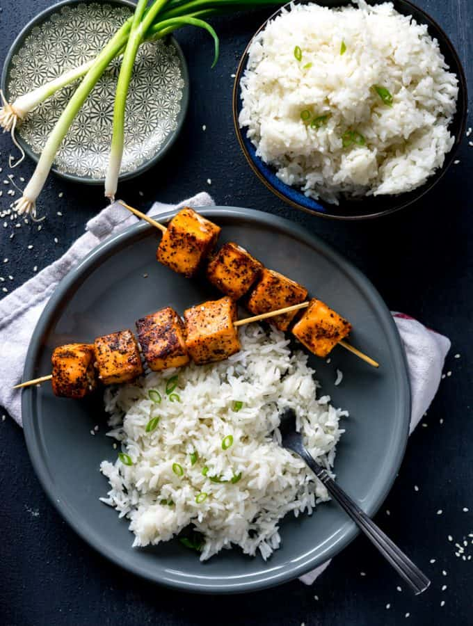 Sweet Sriracha Rubbed Salmon Skewers with Coconut Rice