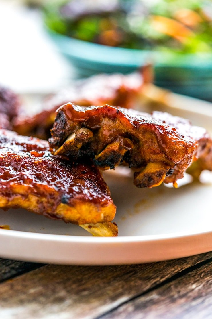 Instant Pot BBQ Ribs on a white plate