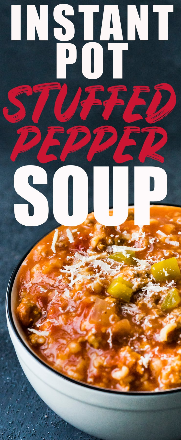 This Stuffed Bell Pepper Soup uses both ground beef and turkey and is made super easy with the help of the Instant Pot! The addition of just a little bit of rice makes this an awesome low carb recipe, too!