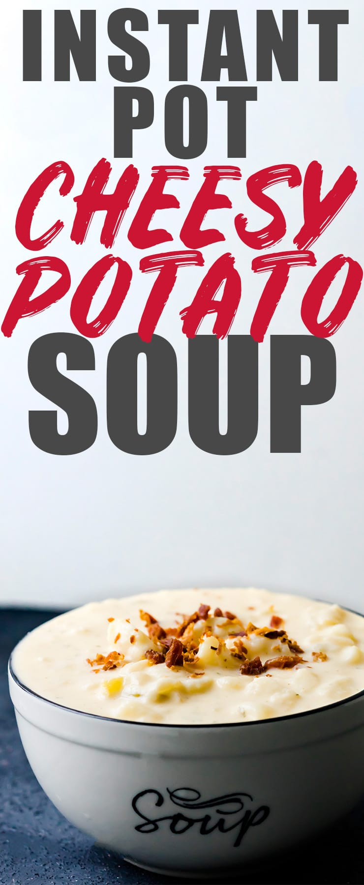 You guys have to try this Instant Pot Cheesy Potato Soup! Top it with a little bit of bacon and you have an easy, cheesy, and creamy soup done in only 7 minutes! #potato #soup #cheesy
