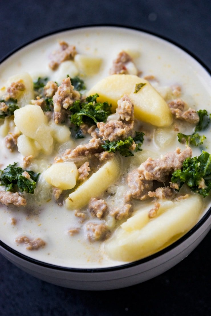 Cozy up this fall with these Four Instant Pot Soup Recipes that only take 7 minutes to cook! Zuppa Toscana, Stuffed Bell Pepper, Cheesy Potato, and Chicken Dumpling.