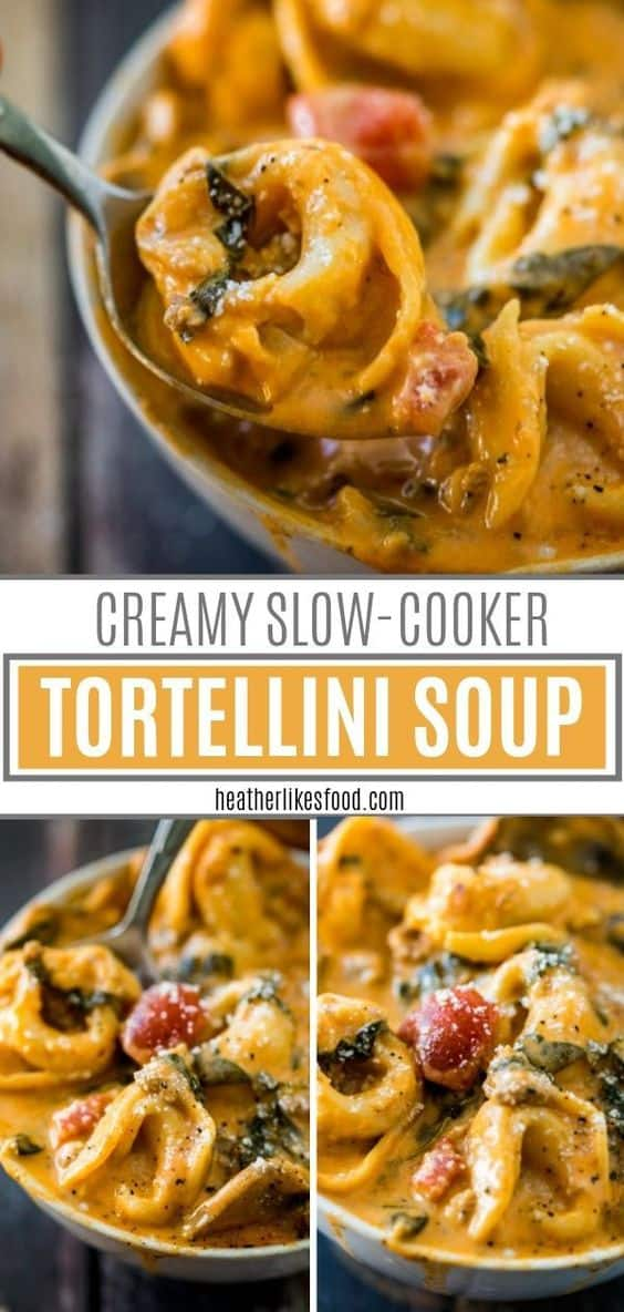 Creamy, hearty soup with italian sausage, tomatoes, cream cheese, cheese tortellini and spinach all cooked low and slow in the slow cooker! A perfectly easy soup for busy fall nights! via @hlikesfood