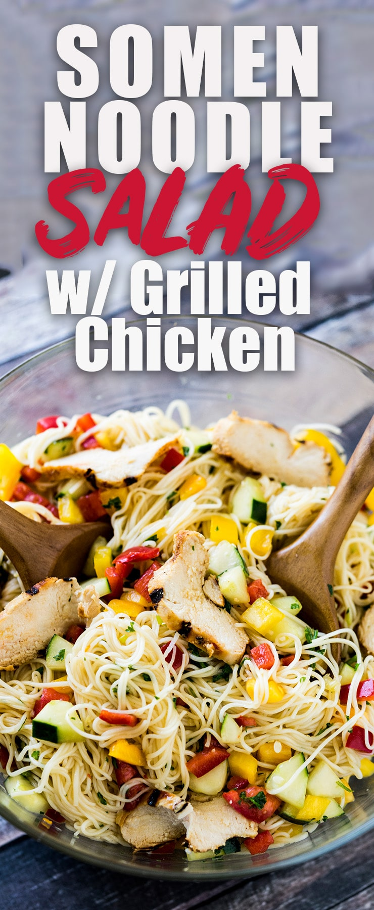 Somen Noodle Salad with grilled chicken is a light and crisp meal that is perfect for potlucks or a casual one-bowl weeknight dinner. #somen #soba #grilled #salad #chinesechicken