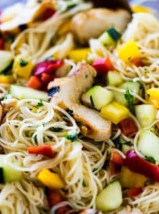 Somen Noodle Salad with grilled chicken is a light and crisp meal that is perfect for potlucks or a casual one-bowl weeknight dinner.