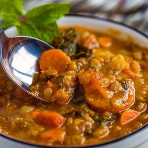 Instant pot best lentil soup served in a white bowl with mint