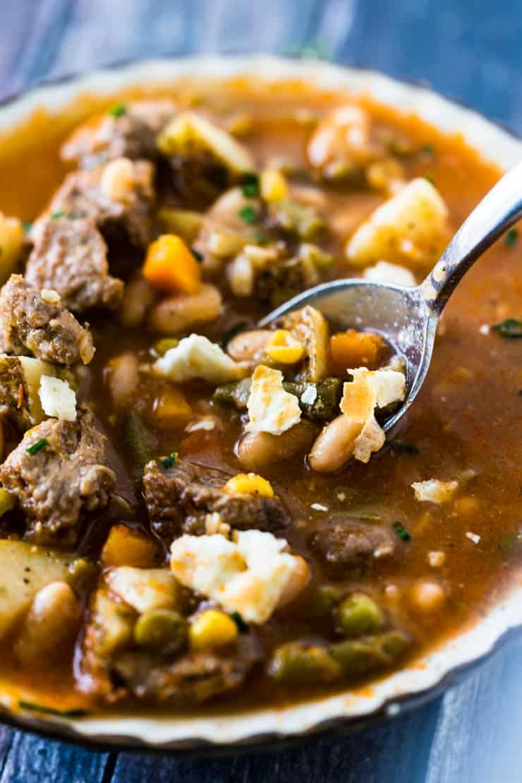 Homemade Vegetable Beef Soup-- a super flavorful Instant Pot Soup Recipe!