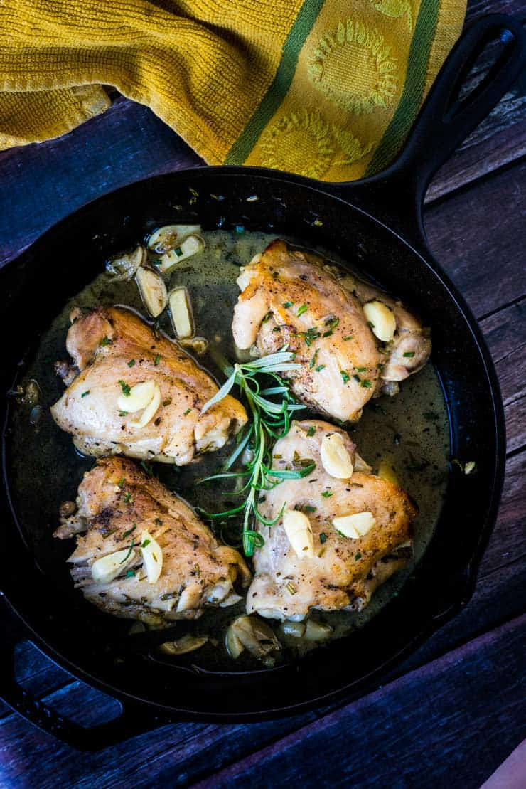 This garlic herb chicken is made in ONE PAN and is a super simple dinner that is flavorful and moist! What a great way to use up your leftover herbs from Thanksgiving!