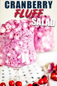 Fresh Cranberry Fluff Salad in glass cup