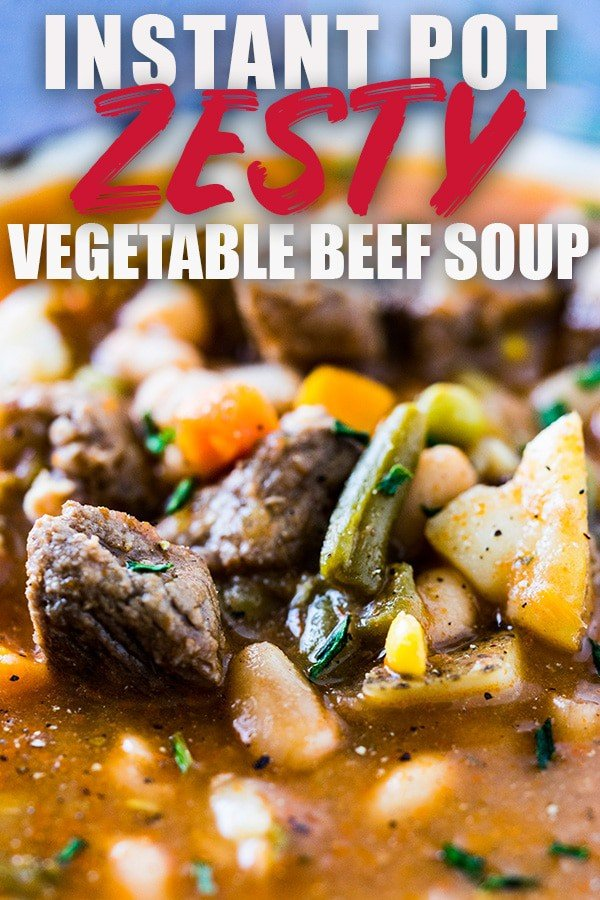 This Homemade Vegetable Beef Soup can be made in the Instant Pot or Electric pressure cooker and takes just a few minutes to create a super flavorful soup! It has super tender pieces of beef and uses a short-cut ingredient that makes it jam-packed with flavor! It can also be made in the slow cooker or on the stove-top! #instantpot #soup #beef #vegetable
