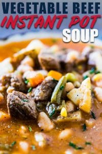 Vegetable beef soup made in the Instant Pot