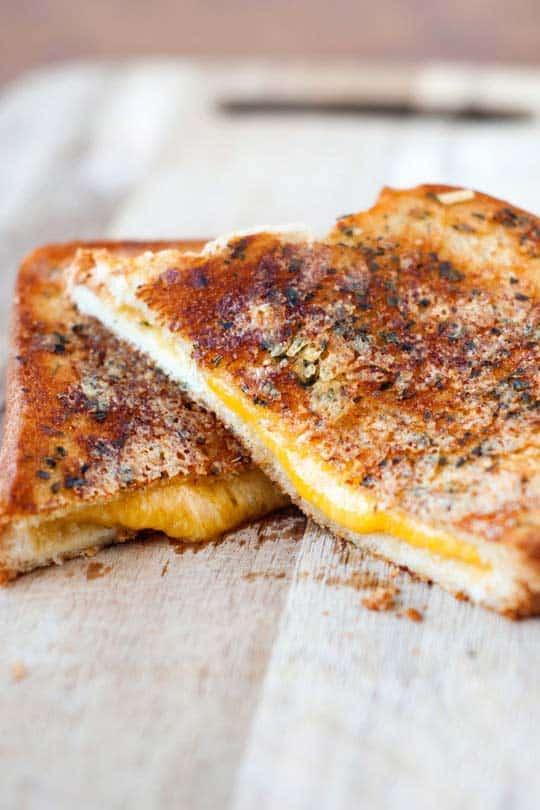 Garlic Parmesan Grilled Cheese Sandwiches