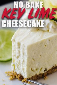 Key Lime No Bake Cheesecake on white plate