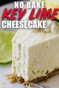 Key Lime No Bake Cheesecake on white plate