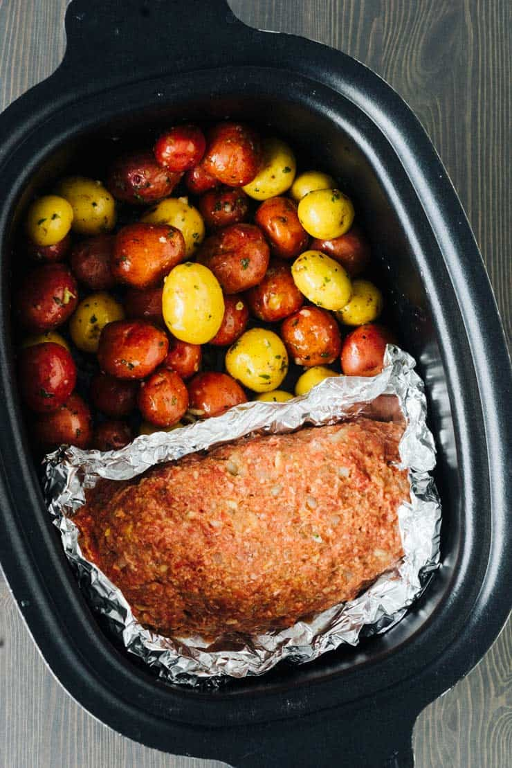 Slow Cooker Meatloaf And Potatoes And Garlic Butter Tender And Perfect