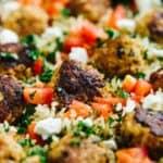 Baked Greek Turkey Meatballs in cast iron skillet