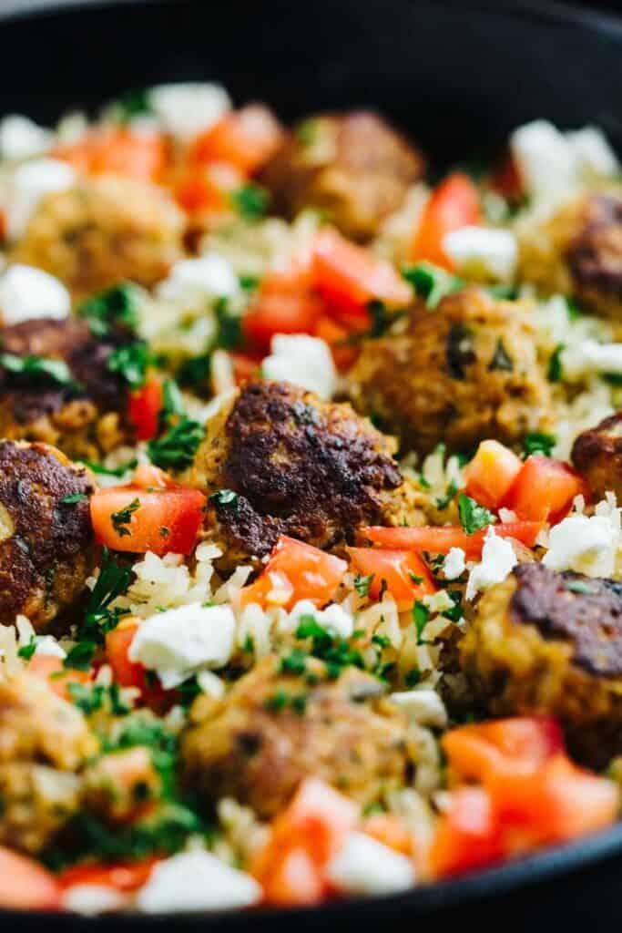 Greek Turkey Meatballs Lemon Rice Skillet Easy Simple