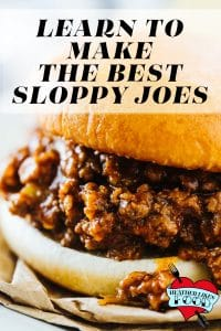 A sloppy joe sandwich with ground beef and tomato sauce