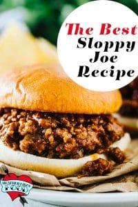 Ground beef sloppy joe sandwich on a bun