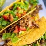 3 crunchy ground beef tacos
