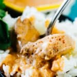 Indian Butter Chicken on rice with a spoon