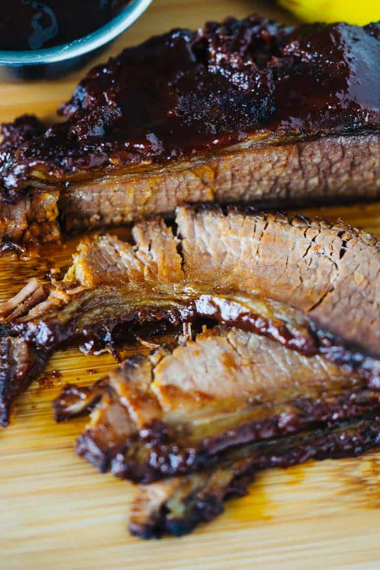 Best Instant Pot Brisket sliced on wood cutting board