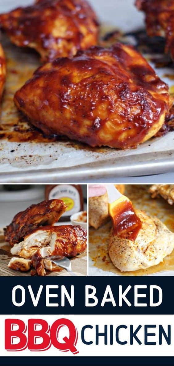 This super moist bbq chicken is marinated and then baked in the oven to juicy perfection. Top with your favorite barbecue sauce for a simple dinner that is full of flavor and easy to make. #bbq #chicken #baked #easyrecipe #chickenmarinade via @hlikesfood