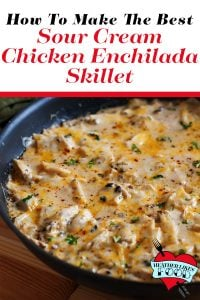 A non-stick pan with sour cream chicken enchilada skillet in it.