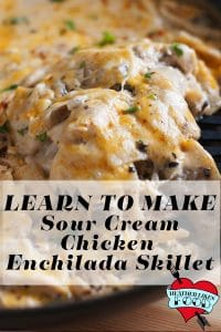 One pan sour cream chicken enchilada skillet being served