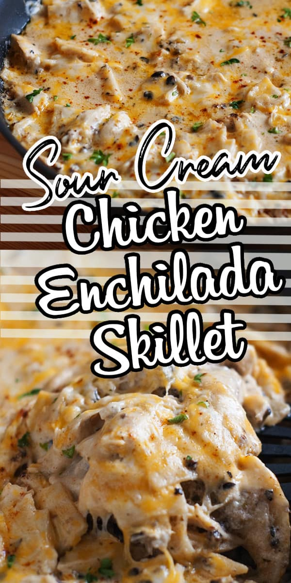 This one pan dinner takes all the flavor of sour cream chicken enchiladas and turns it into an easy skillet that is done in the fraction of the effort and time! Sour cream, chicken, green chiles and plenty of cheese make this recipe great! #enchilada #easydinner #onepan #sourcream #chickendinner via @hlikesfood