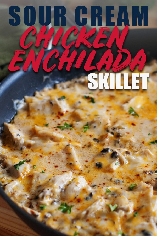 Sour Cream Chicken Enchilada Skillet-- All the Flavor in a One Pan Meal! If you are on the hunt for simple chicken recipes then you are in the right place. This one pan chicken dinner is sure to please the whole family! You will definitely make this easy weeknight meal every week. #chicken #chickenrecipes #dinner #dinnerrecipes #easyrecipe #easydinner via @hlikesfood