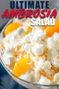 Close Up bowl of Ambrosia Fruit Salad