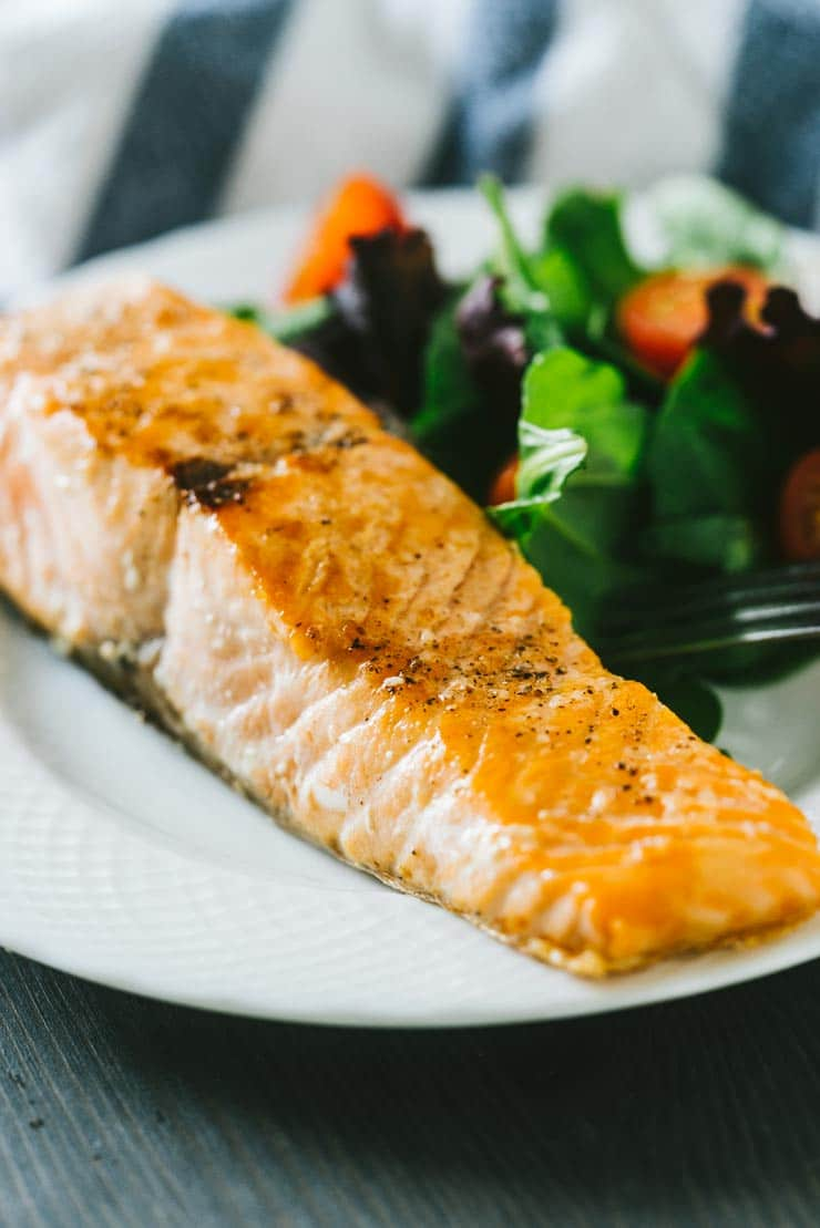 Pan Seared Salmon on a white plate