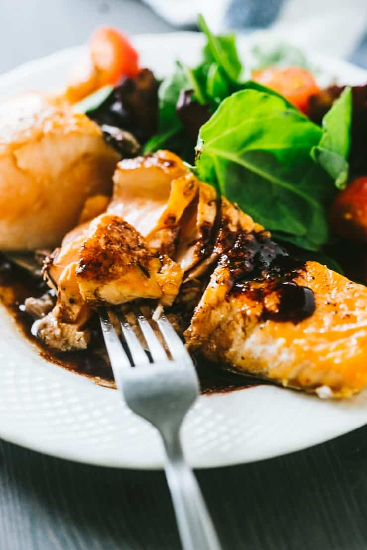 Pan Fried Crispy Skin Salmon with Blackberry Balsamic Sauce