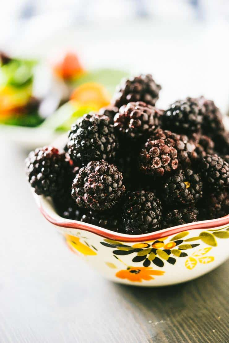Frozen Oregon Blackberries in a bowl