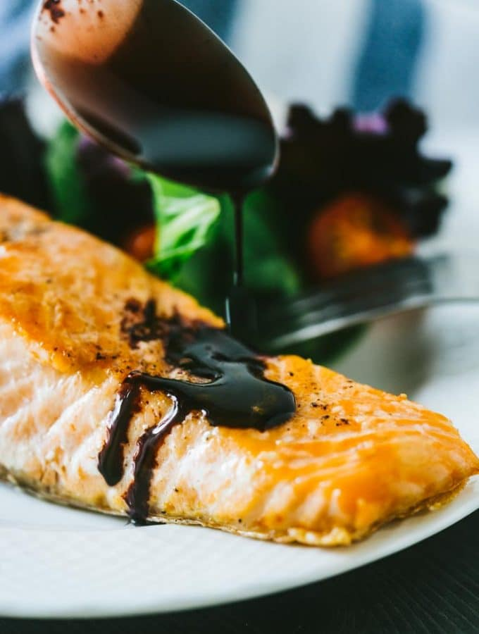 Perfect Pan Seared Salmon w/ Blackberry Balsamic Sauce + Giveaway!