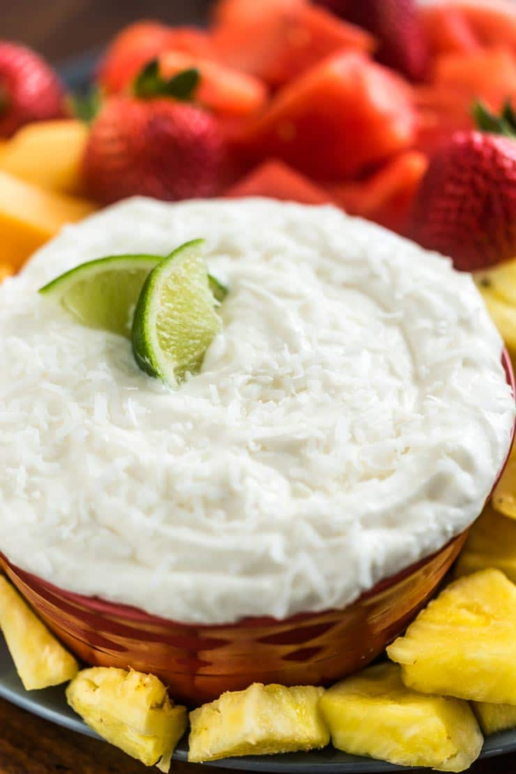 Easy Coconut Lime Cream Cheese Fruit Dip
