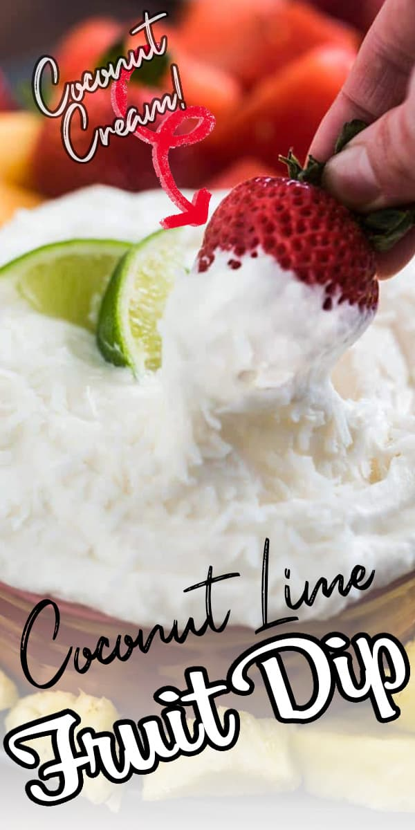 Creamy, light and full of tropical flavor, this fruit dip tastes like summer! Cream cheese, lime juice, coconut cream, marshmallow fluff. It's perfect to dip all kinds of fruit and snacks in! #fruitdip #summerrecipe #easyrecipe #freshfruit via @hlikesfood