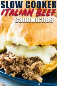 Slow cooker italian beef sandwiches with provolone
