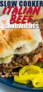 Crockpot Italian Beef Sandwiches with provolone and peppers