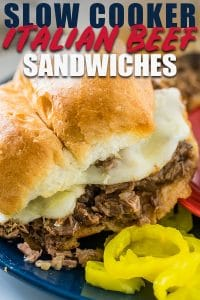 crock pot italian beef shredded sandwiches with pepperoncini