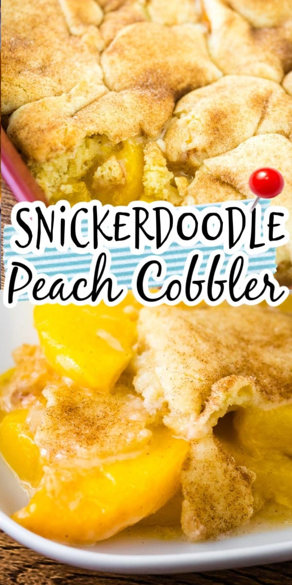 Use fresh or frozen peaches and a boxed snickerdoodle cookie mix for the ultimate summertime dessert. It's especially delicious served with vanilla ice cream. #freshpeaches #peachrecipes #peachcobbler #peachdessert #summerdessert via @hlikesfood