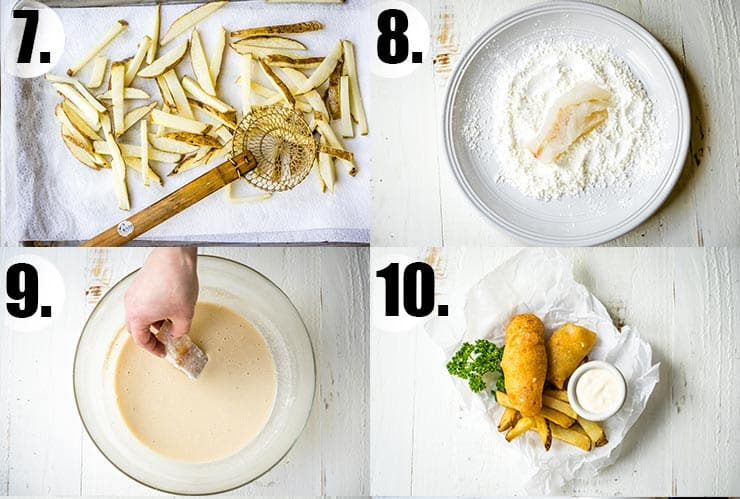 Step-by-step photo collage of how to make beer batter fish and chips