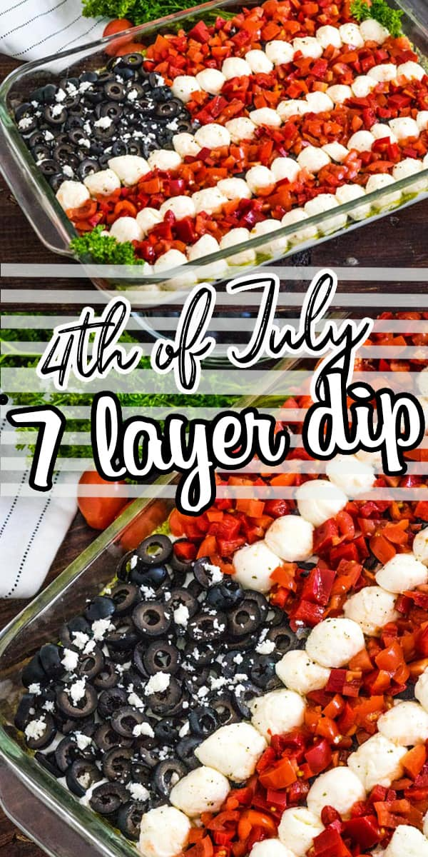 Fourth of July party dip!So many good flavors in this dip and it looks like a flag! Feta, pesto, cream cheese, olives, red pepper, tomato, fresh mozzarella, and more! So good and so much flavor! via @hlikesfood