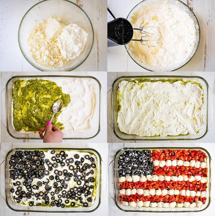 Step-by-step Fourth of July Dip picture collage.
