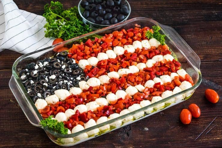 Assembled fourth of july dip in glass casserole dish